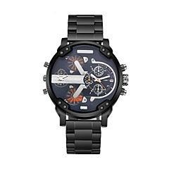 お買い得  大特価腕時計-CAGARNY 男性用 ファッションウォッチ リストウォッチ クォーツ 2タイムゾーン クール ステンレス バンド ハンズ ぜいたく ヴィンテージ ブラック / 白 - シルバー イエロー ブルー