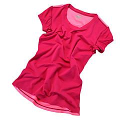 여성용 러닝 티셔츠 짧은 소매 빠른 드라이 통기성 편안함 빛반사 스트립 땀 흡수 기능성 소재 티셔츠 츄리닝 상의 탑스 용 요가 운동&피트니스 달리기 엘라스틴 LYCRA® 망사 단단히 오렌지 레드 그린 핑크 M L XL