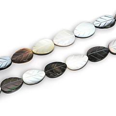 천연 검은 입술 바다 쉘 비즈 beadia 10x14mm 조각 잎 구슬 (38cm / 약 27pcs)