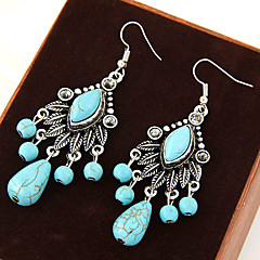 Women's European Style Retro Fashion Foliage Turquoise Drop Earrings