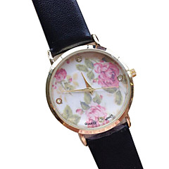 preiswerte Damenuhren-Damen Quartz Armband-Uhr Armbanduhren für den Alltag PU Band Blume / Modisch Schwarz / Weiß / Rosa