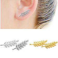preiswerte Ohrringe-Damen Blattform Kristall 1 Ohrstecker / Tropfen-Ohrringe - Doppelschicht / Simple Style Gold / Schwarz / Silber Ohrringe Für Alltag /