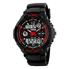お買い得  大特価腕時計-SKMEI 男性用 スポーツウォッチ / 軍用腕時計 / リストウォッチ アラーム / カレンダー / 耐水 ラバー バンド ブラック / LCD / 2タイムゾーン / ストップウォッチ / 2年 / Maxell626 + 2025