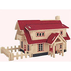 Puzzles Holzpuzzle Bausteine DIY Spielzeug Haus 1 Holz Elfenbein
