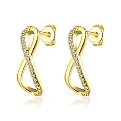 preiswerte Ohrringe-Damen Kubikzirkonia Ohrstecker / Kreolen - Zirkon, vergoldet Gold / Rose Für Hochzeit / Party / Alltag