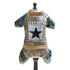 お買い得  犬用ウェア&アクセサリー-犬 ジャンプスーツ 犬用ウェア Stars ゴールド グリーン コットン コスチューム ペット用 男性用 女性用 ファッション