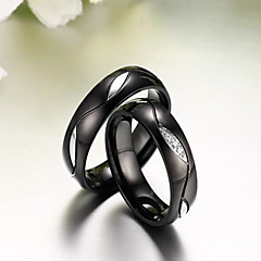 お買い得  指輪-カップル用 カップルリング  -  18Kゴールドメッキ, ステンレス鋼, ラインストーン オリジナル, ぜいたく, ファッション ワンサイズ ブラック / ゴールデン 用途 結婚式 パーティー 日常 / カジュアル
