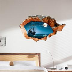 お買い得  ステッカー&デカール-3D壁のステッカー夜の湖の水のPVC素材装飾的な皮膚の壁
