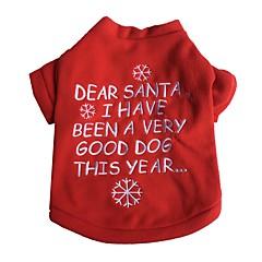 tanie Odzież dla kota-Kot Pies T-shirt Ubrania dla psów Święta Bożego Narodzenia Sylwester Płatek śniegu Czerwony Kostium Dla zwierząt domowych