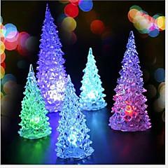 Χαμηλού Κόστους -2pcs Χριστούγεννα Χριστουγεννιάτικο δέντρο Χριστουγεννιάτικο μίνι οδήγησε φως πολύχρωμο νύχτας (τυχαία χρώμα)