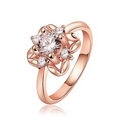 preiswerte Ringe-Damen Kubikzirkonia Bandring - Zirkon, Kubikzirkonia, versilbert Luxus 7 / 8 Silber / Rose / Golden Für Hochzeit Party Alltag / Diamantimitate