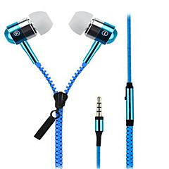 お買い得  ヘッドセット、ヘッドホン-Zipper 耳の中 ケーブル ヘッドホン 動的 Aluminum Alloy 携帯電話 イヤホン マイク付き ヘッドセット