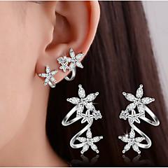 Női Beszúrós fülbevalók Klipszes fülbevalók Kristály utánzat Diamond Alap Duplarétegű jelmez ékszerek Ezüst Heart Shape Flower Shape Leaf