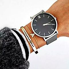 preiswerte Herrenuhren-Herrn Armbanduhr Kleideruhr Modeuhr Sportuhr Quartz Mehrfarbig Edelstahl Band Luxus Retro Freizeit Minimalistisch Cool Silber Gold