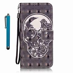 voordelige Galaxy A5 Hoesjes / covers-hoesje Voor Samsung Galaxy A5(2016) A3(2016) Kaarthouder Portemonnee met standaard Volledig hoesje Doodskoppen Hard PU-nahka voor