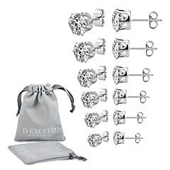 cheap Earrings-Men's Women's Cubic Zirconia Solitaire Stud Earrings - Zircon, Silver Plated Ladies, European, Simple Style Jewelry White / Black For Wedding Party Daily Masquerade Engagement Party Prom / 6 Pairs