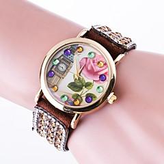 preiswerte Damenuhren-Damen Armband-Uhr Strass / Imitation Diamant / Mehrfarbig Leder Band Blume / Freizeit / Armreif Schwarz / Weiß / Rot