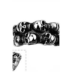 Кольцо Нержавеющая сталь В форме черепа Панк Мода Серебряный Бижутерия Halloween Повседневные Спорт 1шт