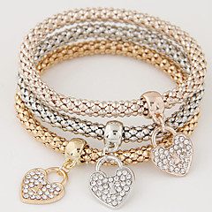 Women's Charm Bracelet Love Luxury European Costume Jewelry Simple Style Fashion Multi Layer Rhinestone Imitation Diamond Alloy Heart