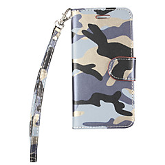 billige iPhone 6 Plus Plus-etuier-Etui Til Apple iPhone 6 iPhone 7 Plus iPhone 7 Kortholder Med stativ Flip Fuldt etui Camouflage Hårdt PU Læder for iPhone 7 Plus iPhone 7