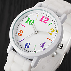 preiswerte Tolle Angebote auf Uhren-Damen Armbanduhren für den Alltag Modeuhr Armbanduhr Quartz Cool Mehrfarbig Silikon Band Analog Retro Freizeit Schwarz / Weiß / Blau - Rosa Schwarz / Weiß Hellblau