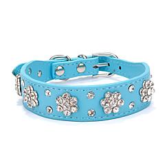 Dog Collar Adjustable/Retractable / Strobe/Flashing Rhinestone / Rock Red / Black / Blue / Pink PU Leather