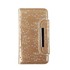 Mert Pénztárca / Kártyatartó / Strassz Case Teljes védelem Case Virág Puha Valódi bőr mert Samsung S7 edge / S7 / S6 edge / S6