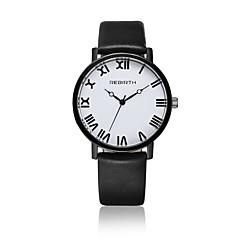 preiswerte Damenuhren-Damen Quartz Armbanduhr / Armbanduhren für den Alltag Leder Band Freizeit Modisch Schwarz Weiß