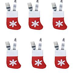 voordelige -6 stks kerst sokken bestek lade kleine sokken kerststal sets decoratie