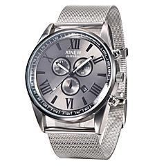 お買い得  大特価腕時計-男性用 リストウォッチ カレンダー / クール ステンレス バンド ファッション ブラック / SSUO 377