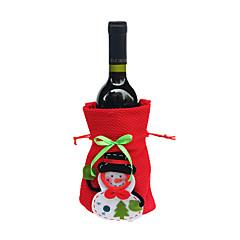 빨간색 통관 메리 크리스마스 산타 클로스 와인 병 커버 가방 크리스마스 저녁 식사 파티 테이블 장식 가방