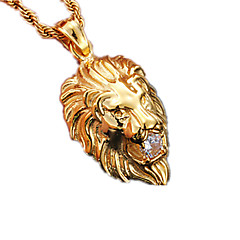 Men's Women's Pendant Necklaces Animal Shape Lion Stainless Steel Imitation Diamond Fashion Jewelry For Party Daily Casual Sports