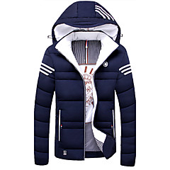 cheap Men's Downs & Parkas-Men's Daily / Weekend Solid Colored Regular Padded, Cotton / Polyester Long Sleeve Winter Hooded Black / Red / Blue XXXL / 4XL / XXXXXL