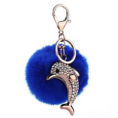 Porte-clés Jouets Porte-clés Sphère Dauphin Métal Pluche 1 Pièces Fille Noël Anniversaire Nouvel an Cadeau