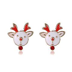 Beszúrós fülbevalók aranyos stílus Ötvözet Animal Shape Szarvas Fehér Ékszerek Mert Parti Napi Karácsonyi ajándékok 1 pár
