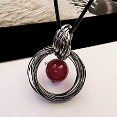 cheap Necklaces-Women's Circle Circular Fashion European Pendant Necklace Imitation Pearl Pearl Alloy Pendant Necklace , Daily Casual