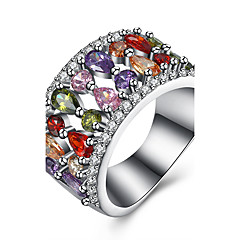preiswerte Ringe-Damen Kubikzirkonia Ring - Zirkon, Kupfer, Titanstahl Tropfen Luxus 6 / 7 / 8 Silber Für Party / Alltag / Normal / Diamantimitate