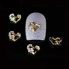 10pcs frumusete inimă de aur din aliaj stras 3d designul unghiilor Nail DIY decorare artă