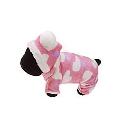 お買い得  犬用ウェア&アクセサリー-犬 パーカー ジャンプスーツ 犬用ウェア 花/植物 ピンク フランネル コスチューム ペット用 男性用 女性用 保温 スポーツ