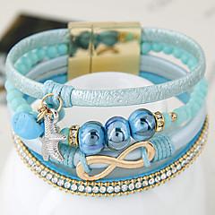 Dames Lederen armbanden Modieus Europees Leder Legering Wit Zwart Grijs Lichtblauw Sieraden VoorFeest Verjaardag Dagelijks Causaal