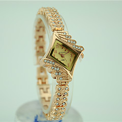 preiswerte Damenuhren-Damen Quartz Armband-Uhr Imitation Diamant Legierung Band Charme Kleideruhr Elegant Modisch Gold