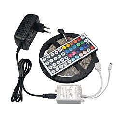 ieftine -Kit de 5m rgb benzi de lumină led smd 3528 non-impermeabil lumină flexibil 5m / rola adapter44keys bandă dioda 12v 3a controler de condus