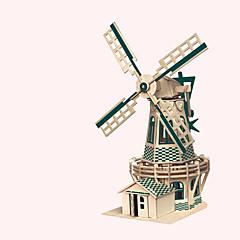abordables Puzzles 3D-Puzzles de Madera Molinillo Molino Edificio Famoso Arquitectura China Casa Nivel profesional De madera 1pcs Niños Chico Regalo