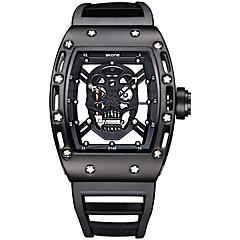 お買い得  大特価腕時計-SKONE 男性用 クォーツ ユニークなクリエイティブウォッチ リストウォッチ スケルトン腕時計 スポーツウォッチ 耐水 光る シリコーン バンド ぜいたく ヴィンテージ スカル ファッション ブラック ブルー レッド
