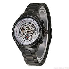 お買い得  メンズ腕時計-WINNER 男性用 スケルトン腕時計 / リストウォッチ / 機械式時計 耐水 / 透かし加工 / 光る ステンレス バンド ぜいたく / ヴィンテージ ブラック / 自動巻き / 速度計 / 自動巻き / 速度計
