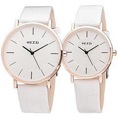 preiswerte Armbanduhren für Paare-KEZZI Paar Armbanduhr Cool / Imitation Diamant Leder Band Freizeit / Modisch Schwarz / Weiß / Braun / Ein Jahr / SSUO LR626