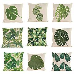 """set van 9 tropische kussensloop groen blad plantaardig slaapkamer huis decoratief (18 """"* 18"""")"""