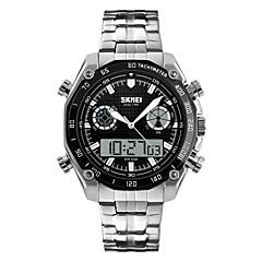 preiswerte Herrenuhren-Herrn Sportuhr / Armbanduhr / Digitaluhr Alarm / Kalender / Wasserdicht Edelstahl Band Silber