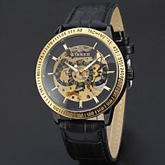 preiswerte Herrenuhren-Herrn Automatikaufzug Mechanische Uhr Armbanduhr Totenkopfuhr Sportuhr Armbanduhren für den Alltag Echtes Leder Band Charme Luxus