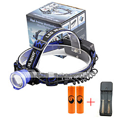 U'King Headlamps Headlight LED 2000 lm 3 Mode Cree XM-L T6 with Batteries and Charger Zoomable Alarm Adjustable Focus High Power